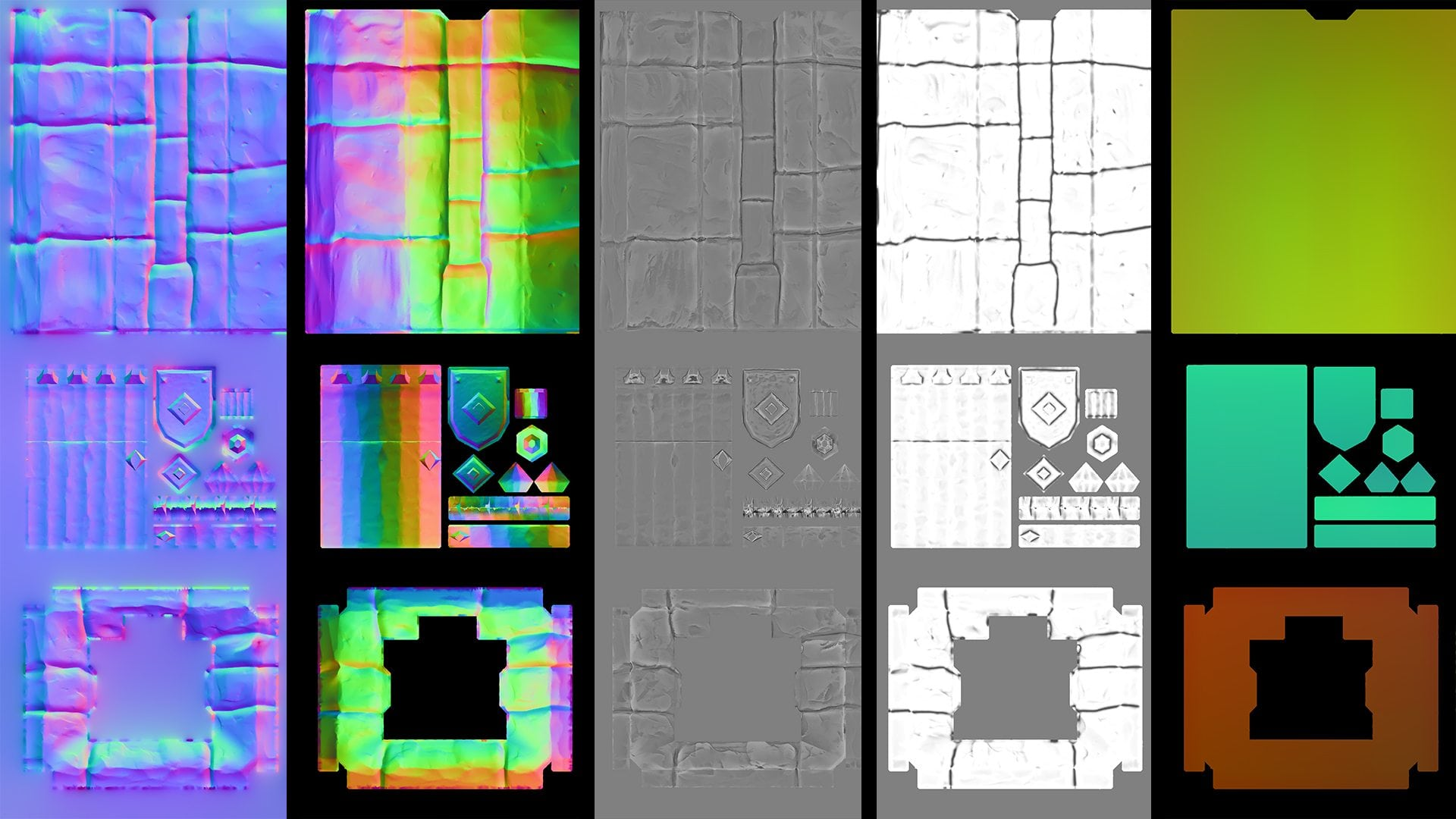 Image 09 - various baked maps; tangent space normal, object space normal, curvature, ambient occlusion and position gradient