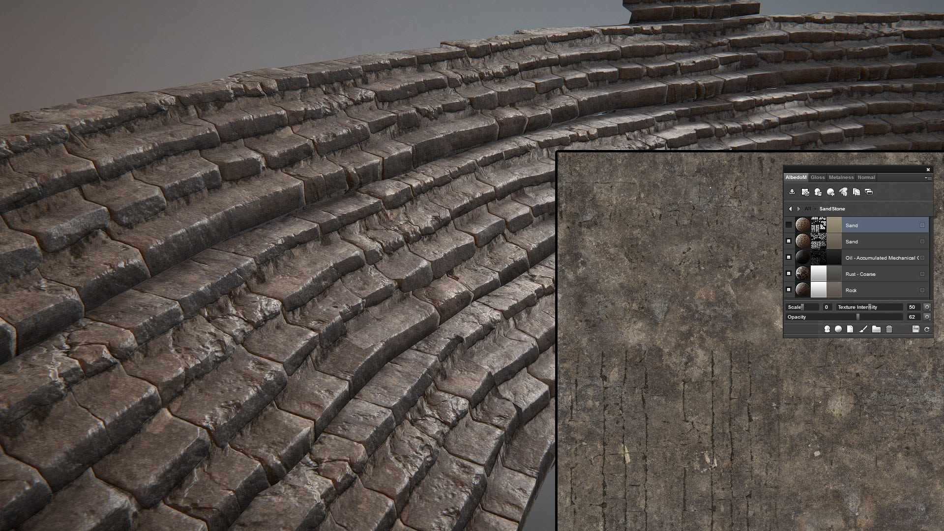 Image 11 - stone smart material used on the stairs and final diffuse map
