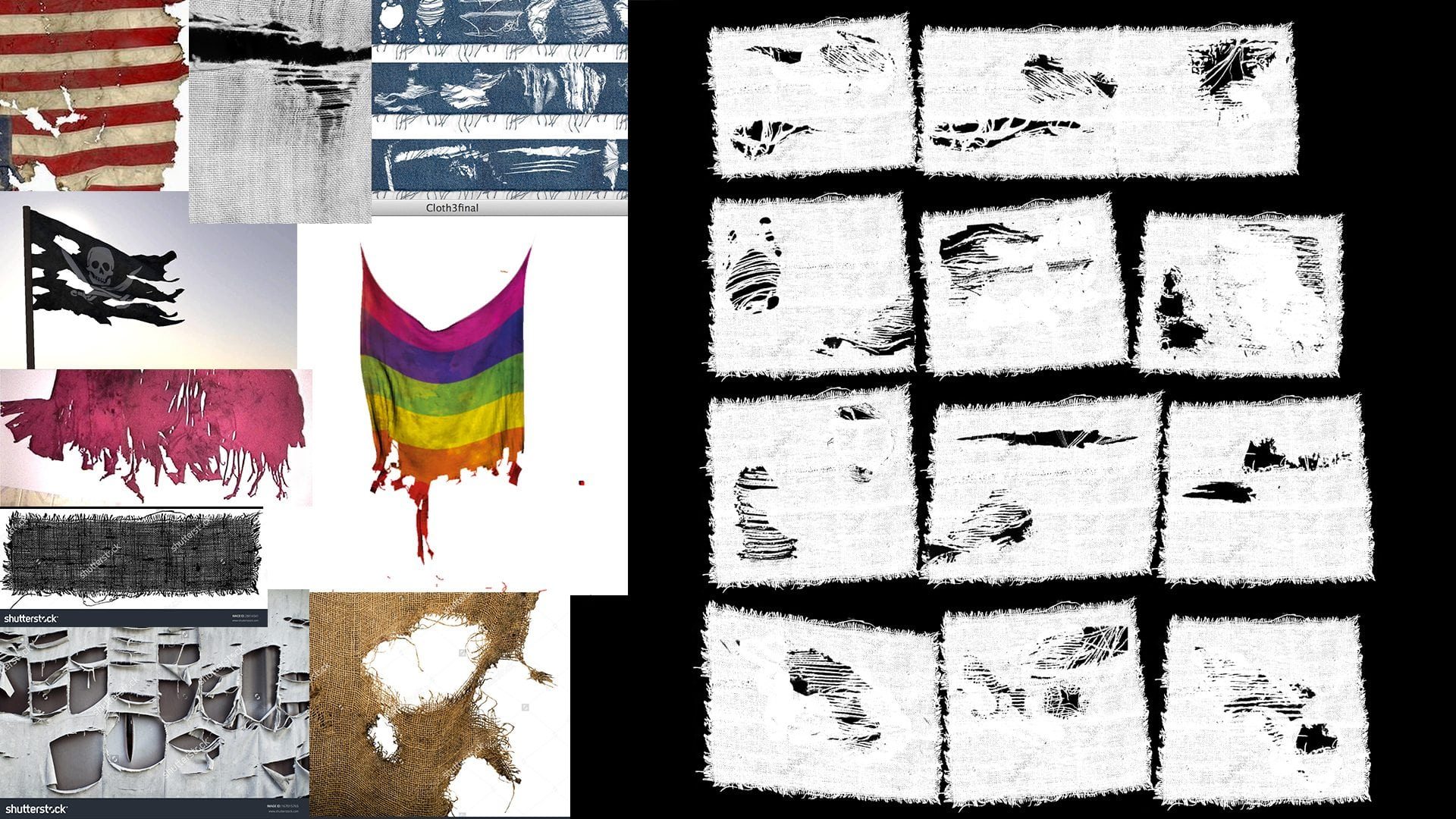 Image 14 - references I gathered for making the cloth's alpha and the final result