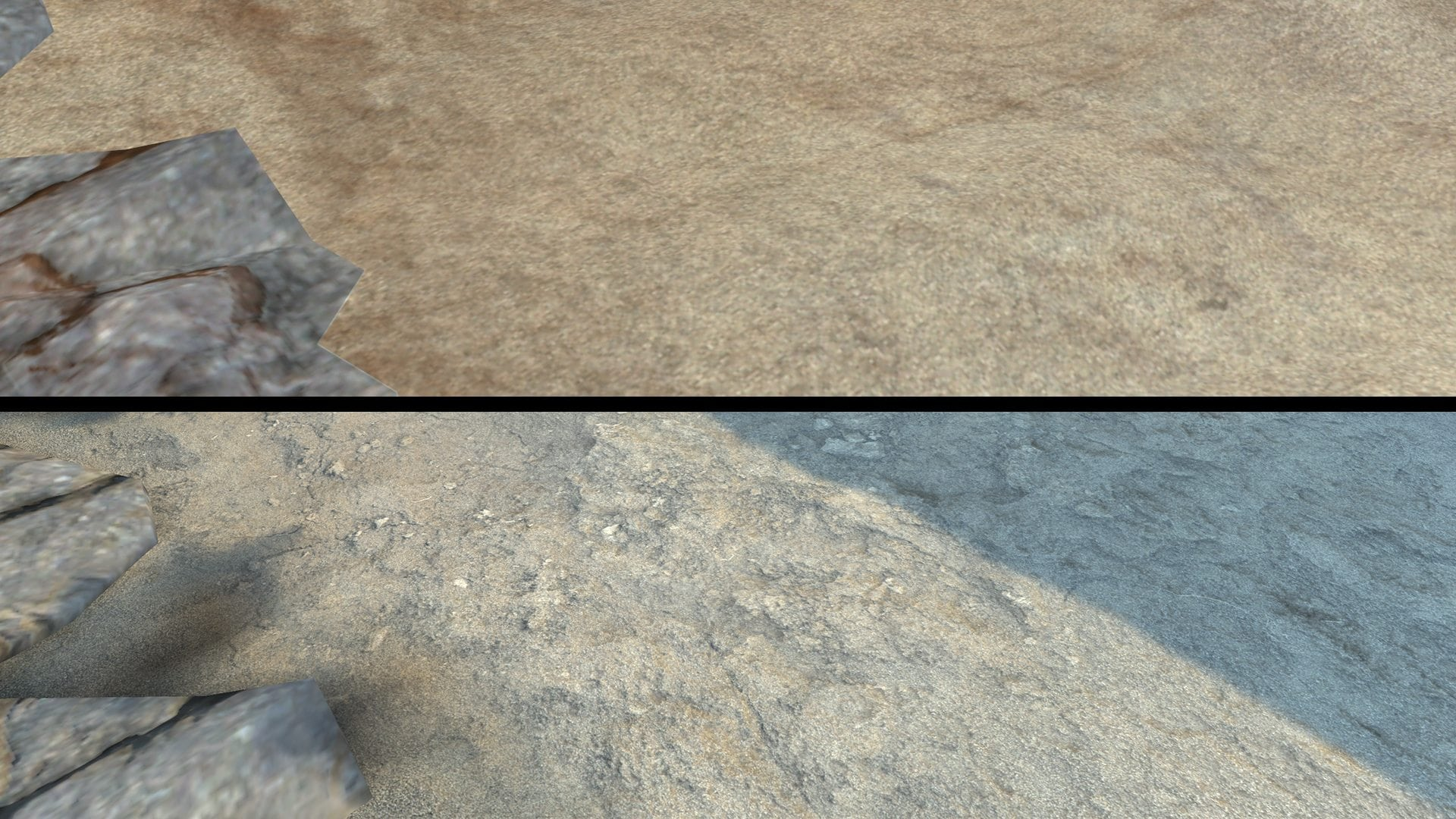 Image 15 - comparison of ground texture details; top - unique 8K texture, bottom - splat shader with three 1K maps;
