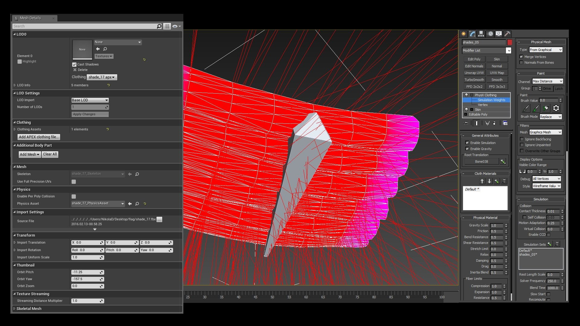 Image 18 - Mesh Details for setting up cloth in UE and how to define simulation-ready vertices in 3ds max