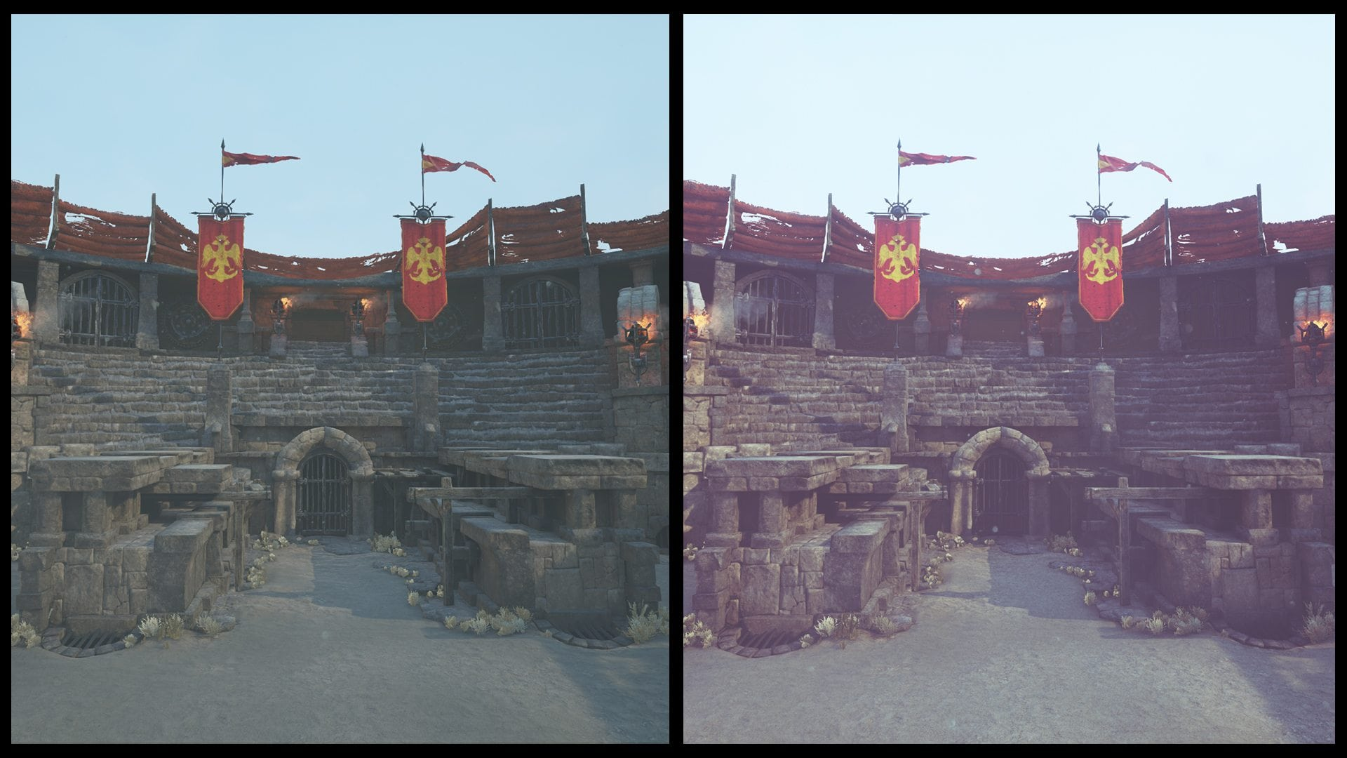 Image 25 - scene without (left) and with post processing (right)