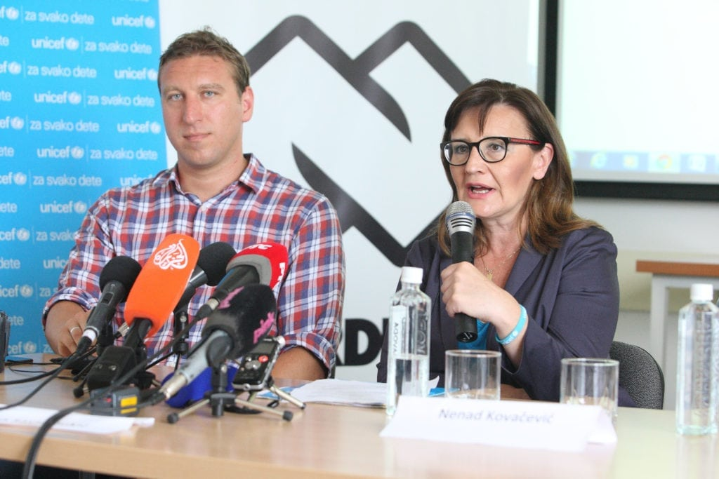 Nordeus CEO at a press conference announcing plans for a mobile app in partnership with UNICEF