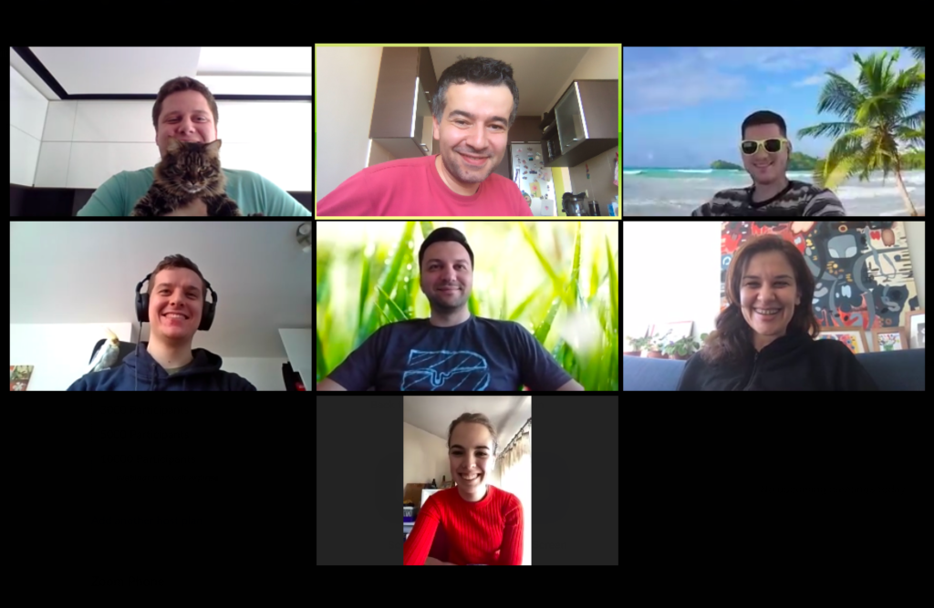 Engaging with the team on a Zoom video conference call